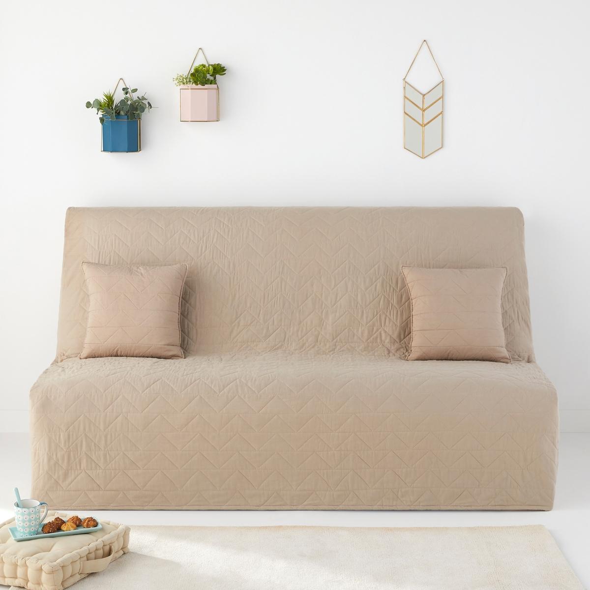 Чехол стеганый для раскладного дивана SC?NARIOСтеганый чехол для раскладного дивана, 100% хлопок. Стеганая подкладка, зигзагообразная прострочка. Чехол плотно охватывает диван (частично спинку).Характеристики стеганого чехла для раскладного дивана:100% хлопок. Наполнитель 100% хлопокЭластичные края чехла.Зигзагообразная прострочкаРазмеры стеганого чехла для раскладного диванаШирина 190 см, глубина 65 см.Откройте для себя всю коллекцию декора  Zig Zag на сайте laredoute.ruЗнак Oeko-Tex® гарантирует, что товары прошли проверку и были изготовлены без применения вредных для здоровья человека веществ.<br><br>Цвет: антрацит,бежевый,сине-зеленый
