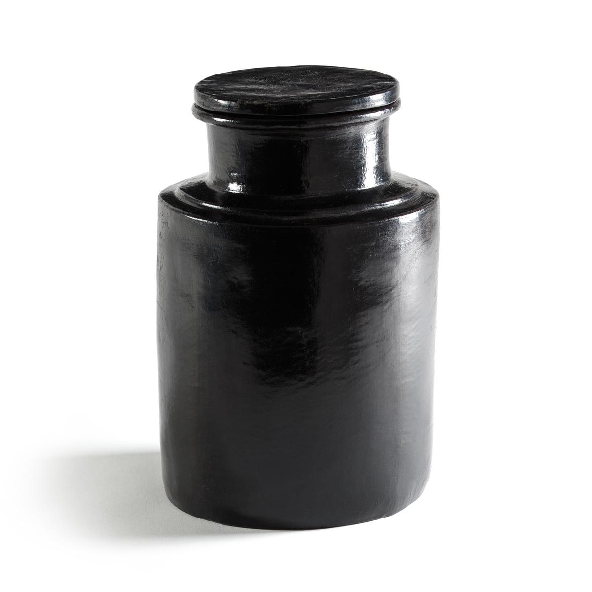 Горшок керамический MirissaГоршок Mirissa. Декоративный и практичный с крышкой. Из керамики чёрного матового цвета. Размер : ?18 x H27 см.<br><br>Цвет: черный