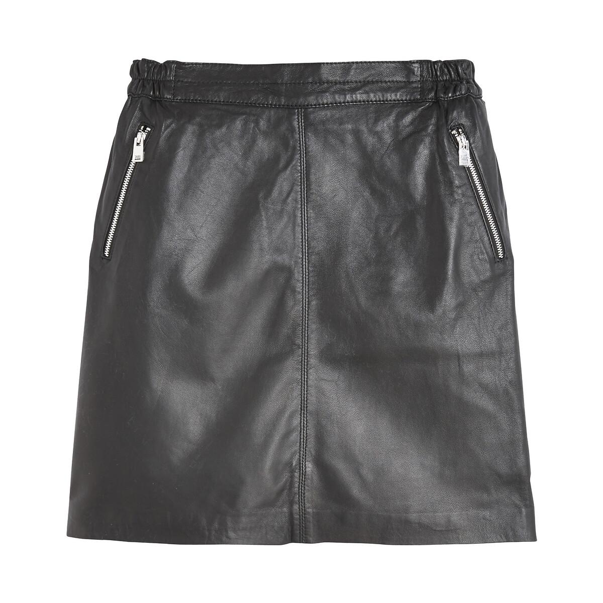 Юбка La Redoute Прямая короткая из кожи мутона STREET 38 (FR) - 44 (RUS) черный юбка la redoute короткая прямая из ткани с пропиткой 40 fr 46 rus черный