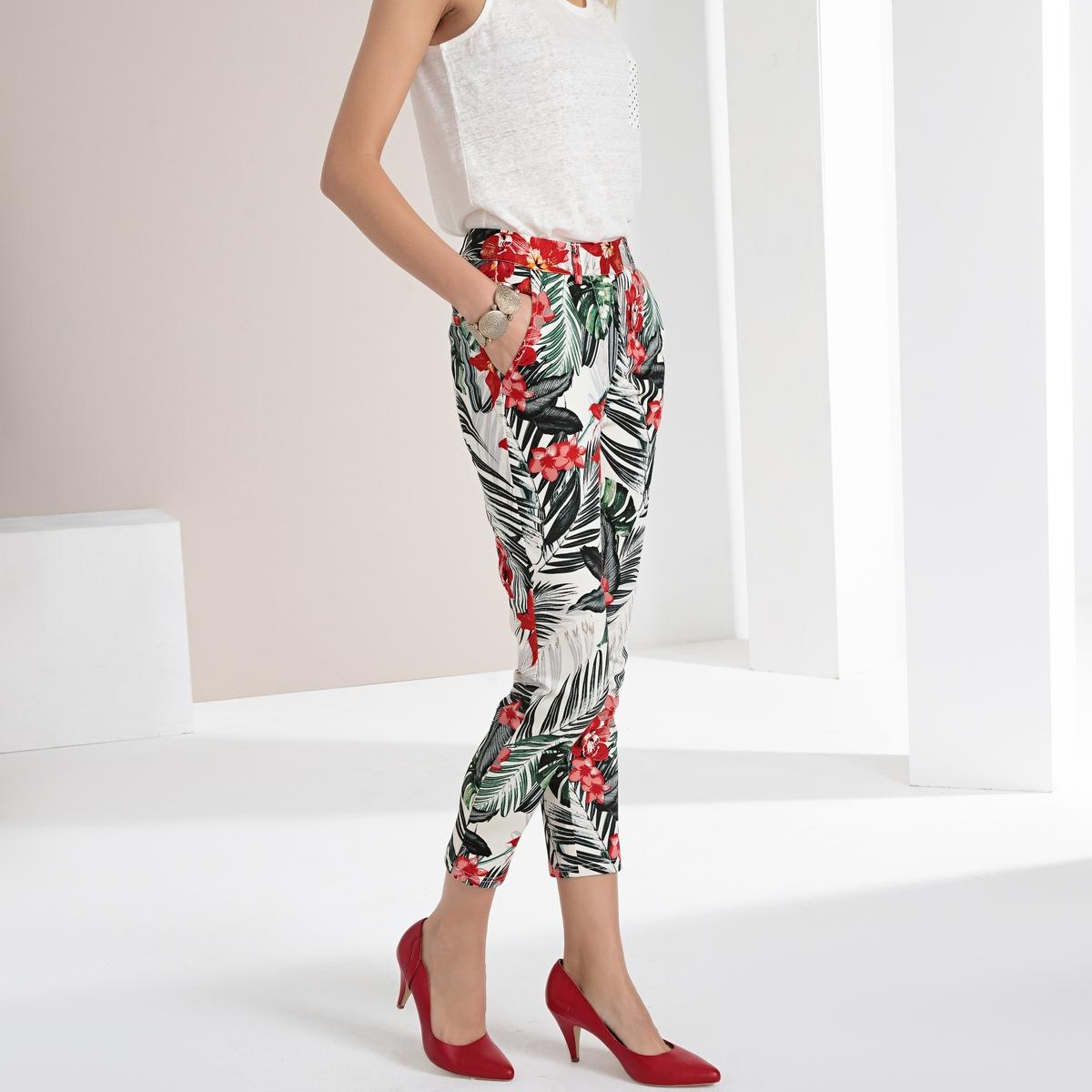 Imagen adicional de producto de Pantalón recto estampado de satén de algodón stretch - Anne weyburn