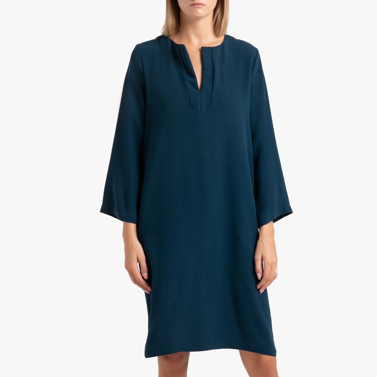 Платье LaRedoute Прямое с длинными рукавами LINE XS синий
