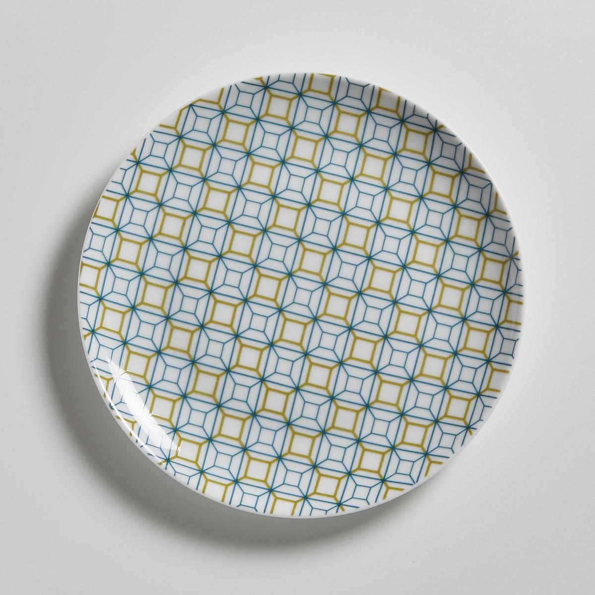 Комплект из 4 десертных тарелок из фарфораКомплект из 4 десертных тарелок из фарфора La redoute Int?rieurs. Геометрические мотивы в стиле ретро (синий и охра) в современном и изысканном исполнении .  Характеристики 4 десертных тарелок    :- Десертные тарелки из фарфора- Диаметр : 20,3 см   . - Можно использовать в посудомоечных машинах и микроволновых печах- Продаются в комплекте из 4 штук в подарочной коробке<br><br>Цвет: набивной рисунок