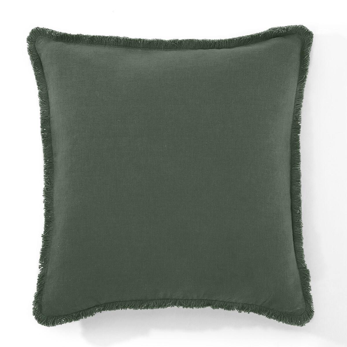 Фото - Чехол LaRedoute На подушку из льнавискозы ODORIE 40 x 40 см зеленый чехол laredoute на подушку валик с отделкой бисером volodia 45 x 45 см зеленый