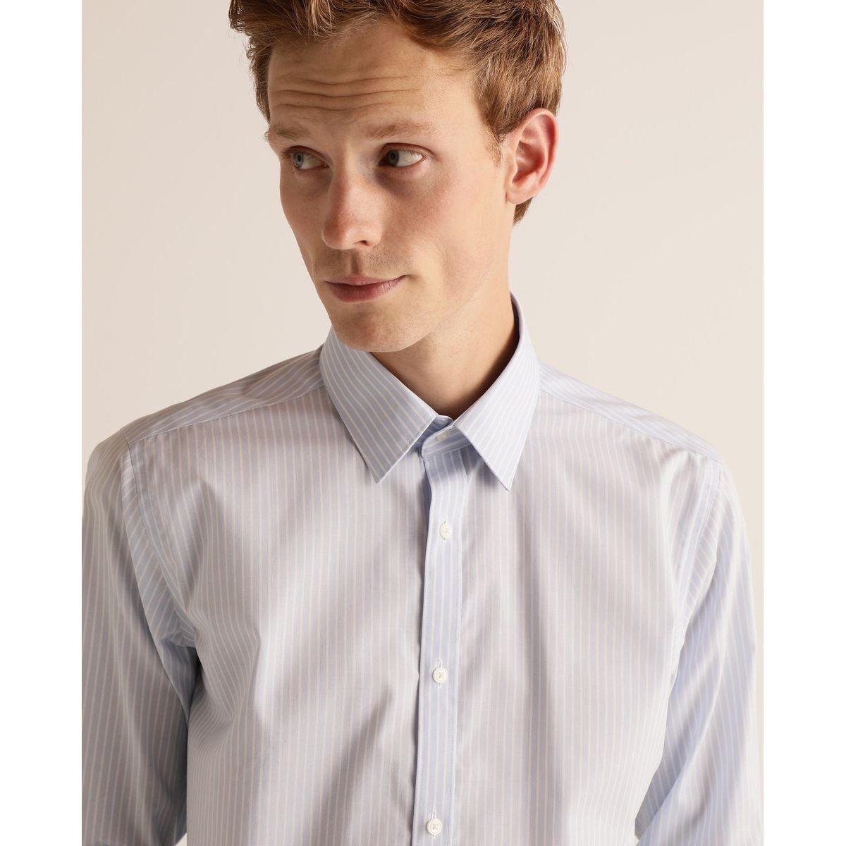 Chemise slim habillée Non Iron   rayée bleu