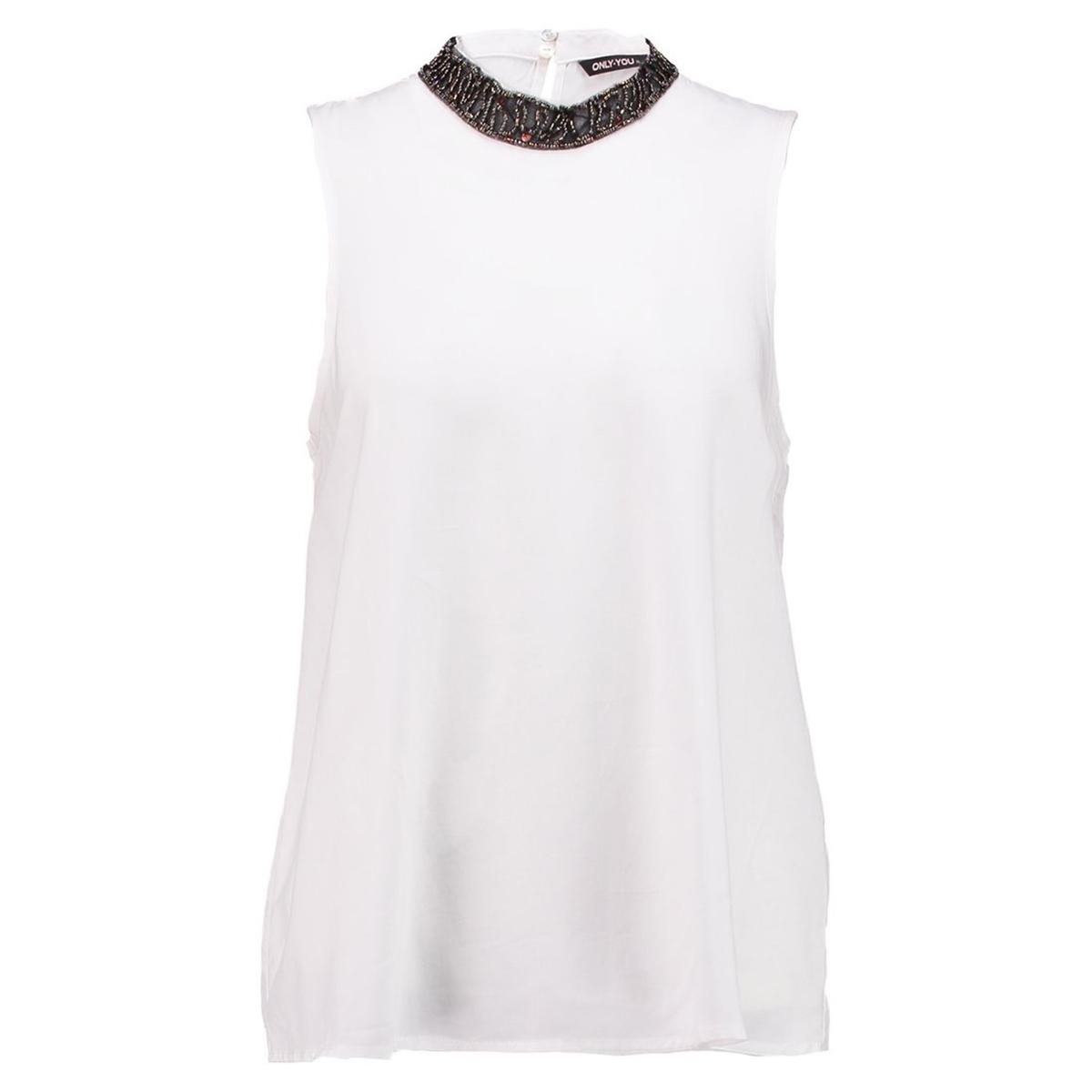 Блузка с круглым вырезом без рукавов блузка однотонная с круглым вырезом без рукавов