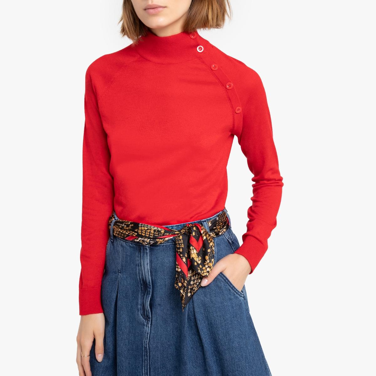 Пуловер La Redoute С воротником-стойкой из тонкого трикотажа Malowne L красный цена и фото