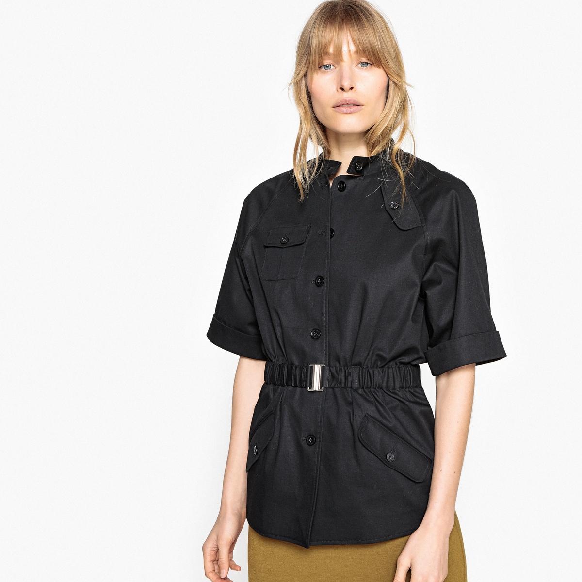 Жакет прямого покроя в стиле милитари с короткими рукавами одежда в стиле милитари