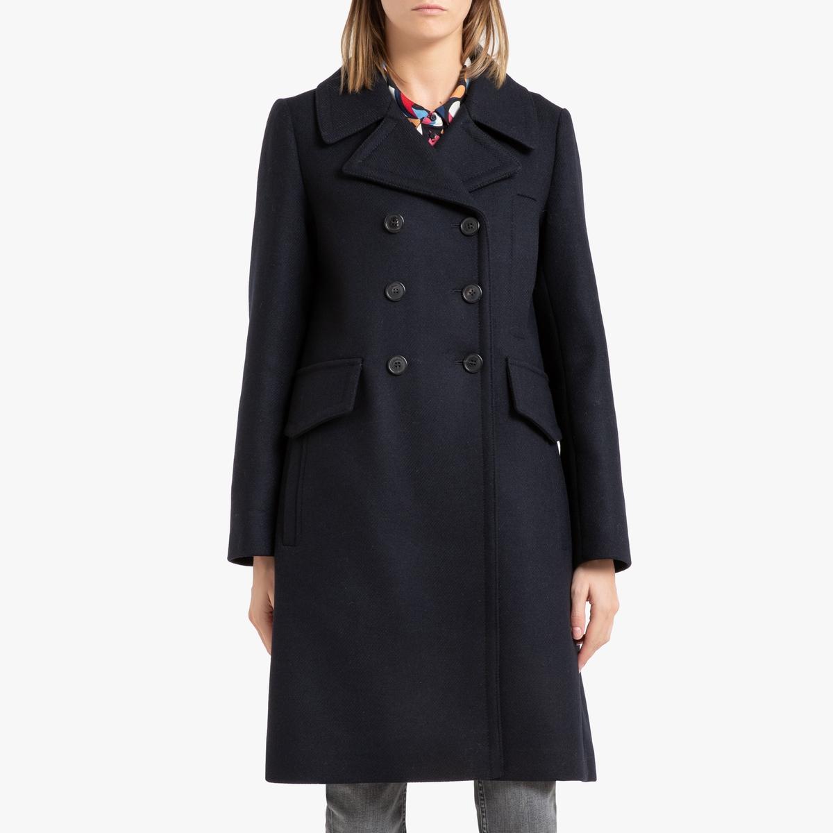 все цены на Пальто La Redoute Длинное на пуговицах NEILA 1(S) синий онлайн