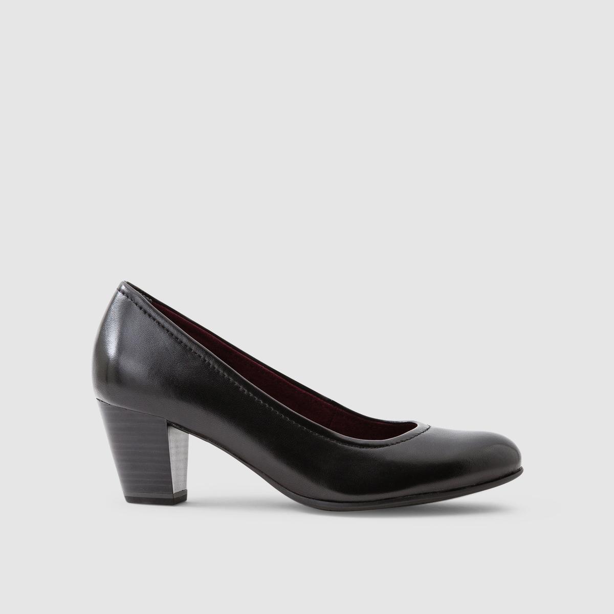 Туфли из гладкой кожиПодкладка : кожа и текстиль   Стелька : кожа   Подошва : синтетика   Высота каблука : 6 см   Марка : TAMARIS<br><br>Цвет: черный<br>Размер: 38