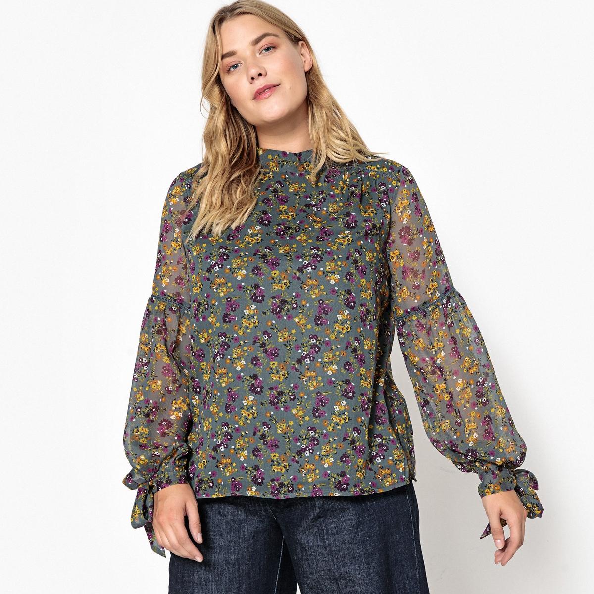 Блузка с воротником-стойкой, цветочным рисунком и длинными рукавами