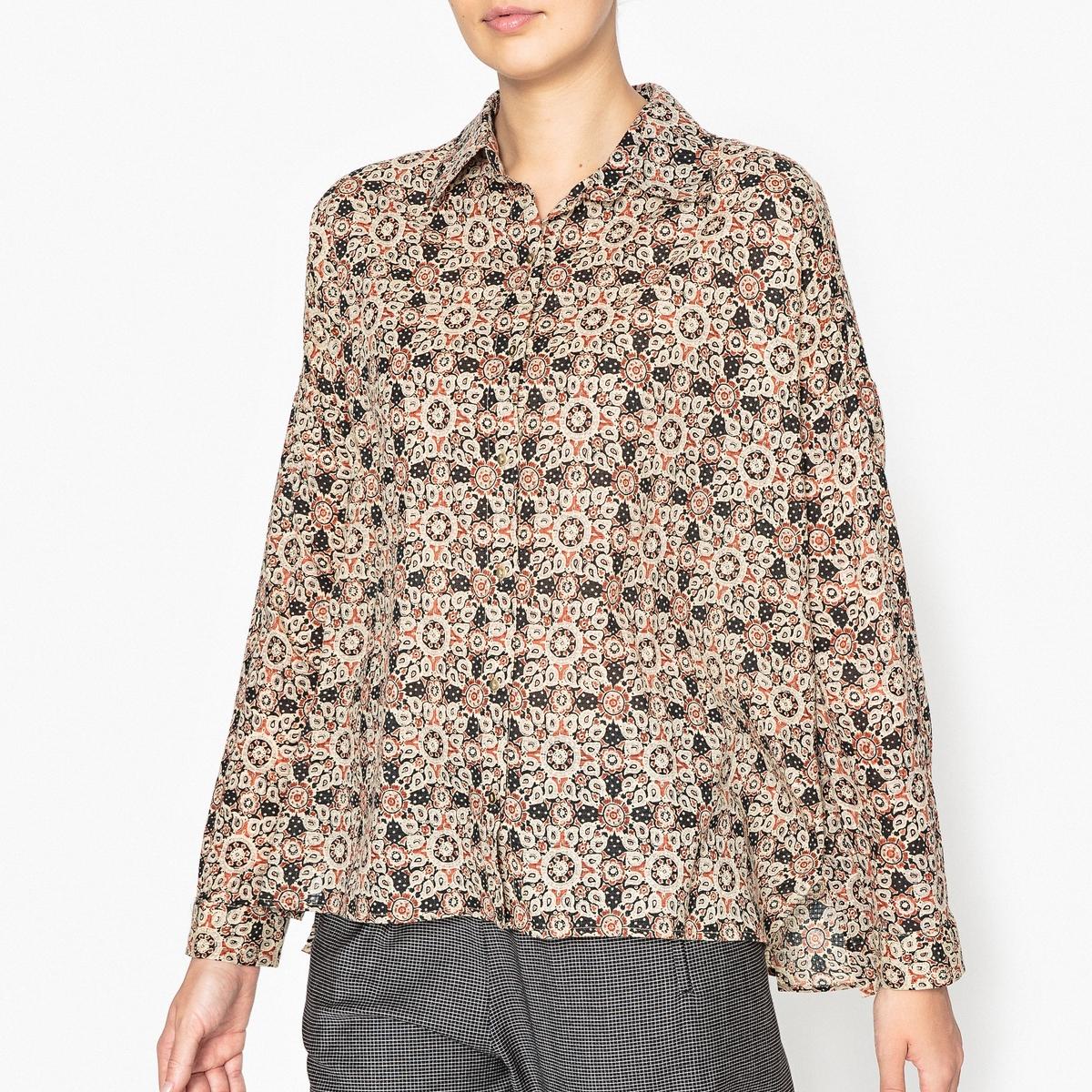 Рубашка просторная с рисунком SNAKEРубашка с длинными рукавами LAURENCE BRAS - модель SNAKE просторного покроя с золотистыми пуговицами,  из 100% хлопка с рисунком.Детали •  Длинные рукава •  Покрой бойфренд, свободный •  Воротник-поло, рубашечный  •  Рисунок-принтСостав и уход •  100% хлопок •  Следуйте советам по уходу, указанным на этикетке •  Манжеты на пуговицах •  Прорезь с каждой стороны<br><br>Цвет: рисунок черный,рисунок/оранжевый