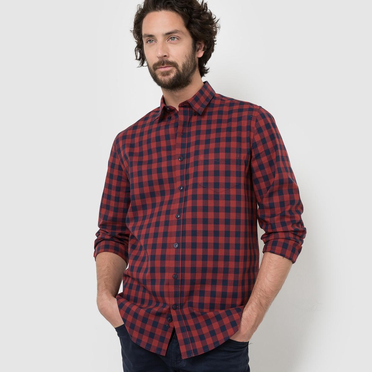Рубашка прямого покроя с длинными рукавами, 100% хлопокСостав и описание :Материал : 100% хлопок  Длина : 76 смМарка :      R ?ditionУходМашинная стирка при 30 °С<br><br>Цвет: в синюю клетку<br>Размер: 43/44