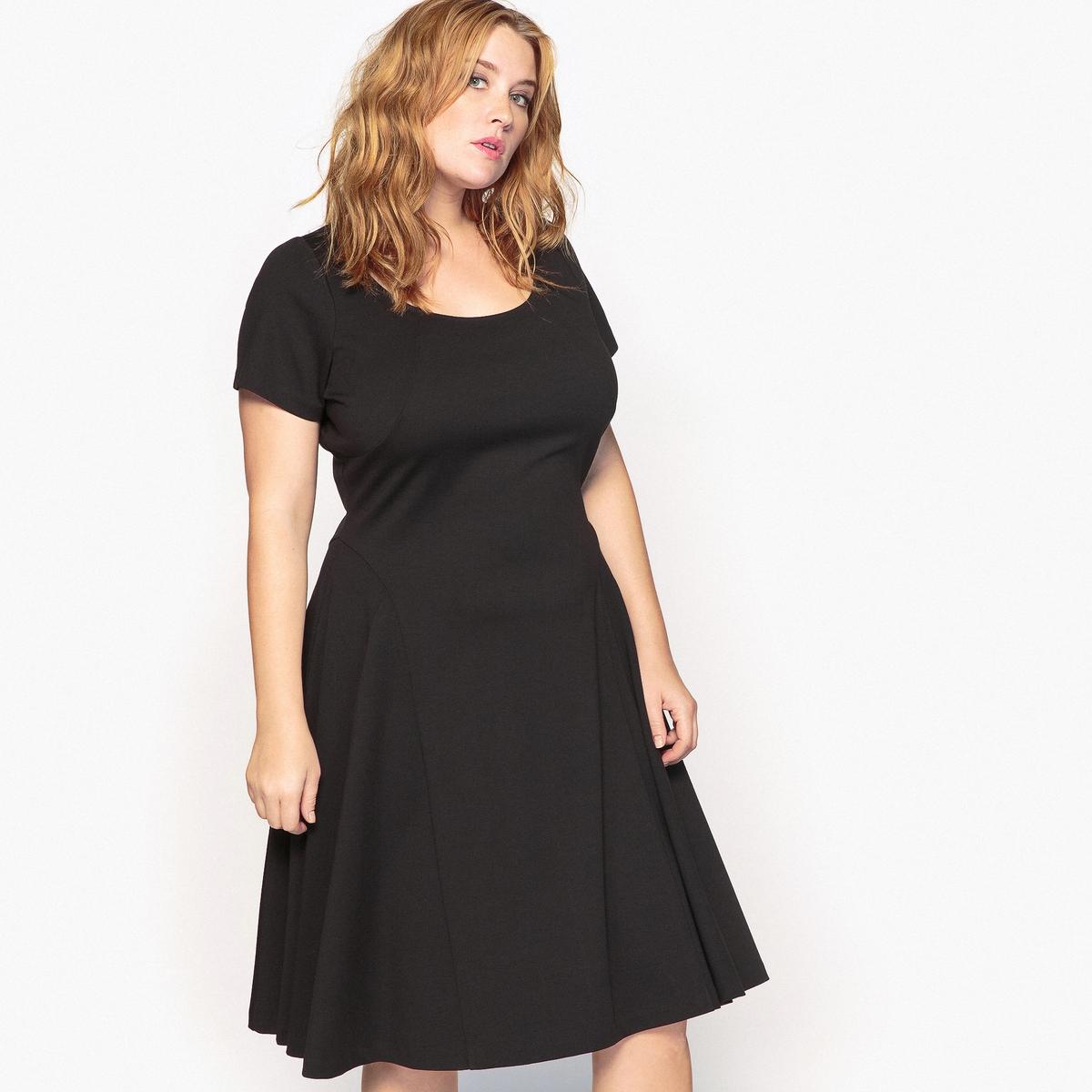 Платье фасона солнце-клешОписание:Очень элегантное расклешенное платье из плотного трикотажа. Это расклешенное платье является неотъемлемым предметом гардероба, подбирайте аксессуары к нему в соответствии с вашим персональным стилем.Детали •  Форма : расклешенная •  Длина до колен •  Короткие рукава    •  Круглый вырезСостав и уход •  20% вискозы, 5% эластана, 75% полиэстера   •  Температура стирки при 30° на деликатном режиме   •  Сухая чистка и отбеливание запрещены •  Не использовать барабанную сушку   •  Низкая температура глажки   ВАЖНО: Товар без манжетТовар из коллекции больших размеров •  Длина : 101,8 см<br><br>Цвет: гранатовый,черный<br>Размер: 50 (FR) - 56 (RUS).42 (FR) - 48 (RUS).54 (FR) - 60 (RUS).50 (FR) - 56 (RUS).52 (FR) - 58 (RUS)
