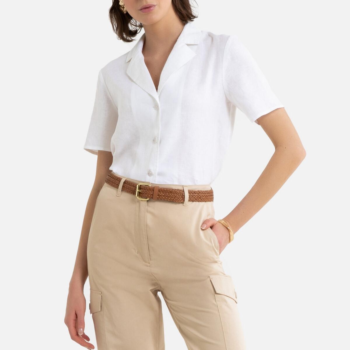 Camisa de lino con cuello sastre de manga corta