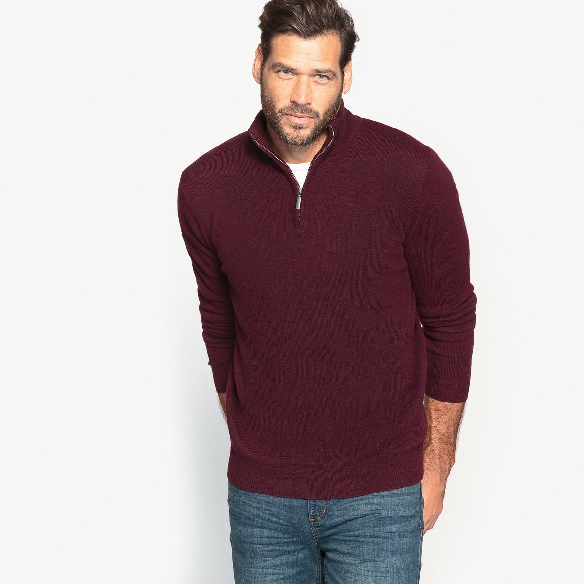 Пуловер с воротником-стойкой,  50% шерсти