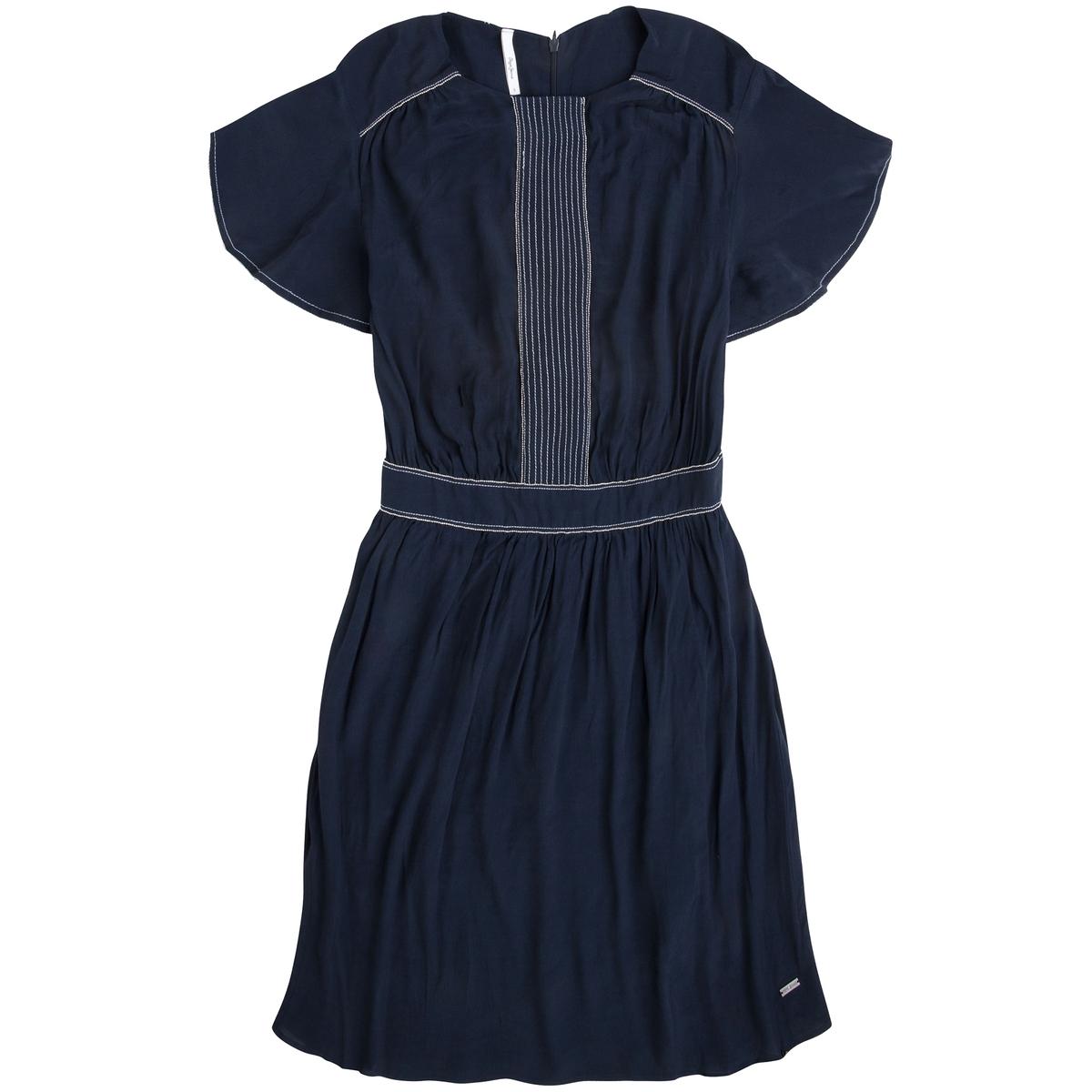 Платье короткое с короткими рукавамиДетали •  Форма : расклешенная •  Короткое  •  Короткие рукава    •  Круглый вырезСостав и уход •  100% полиэстер  •  Следуйте советам по уходу, указанным на этикетке<br><br>Цвет: синий морской<br>Размер: M.S