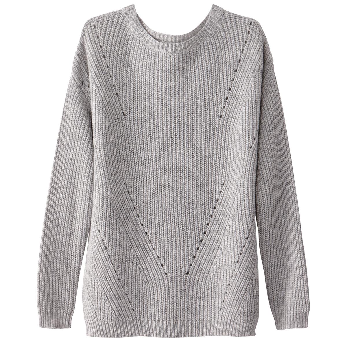 Пуловер шерстяной с ажурными деталями