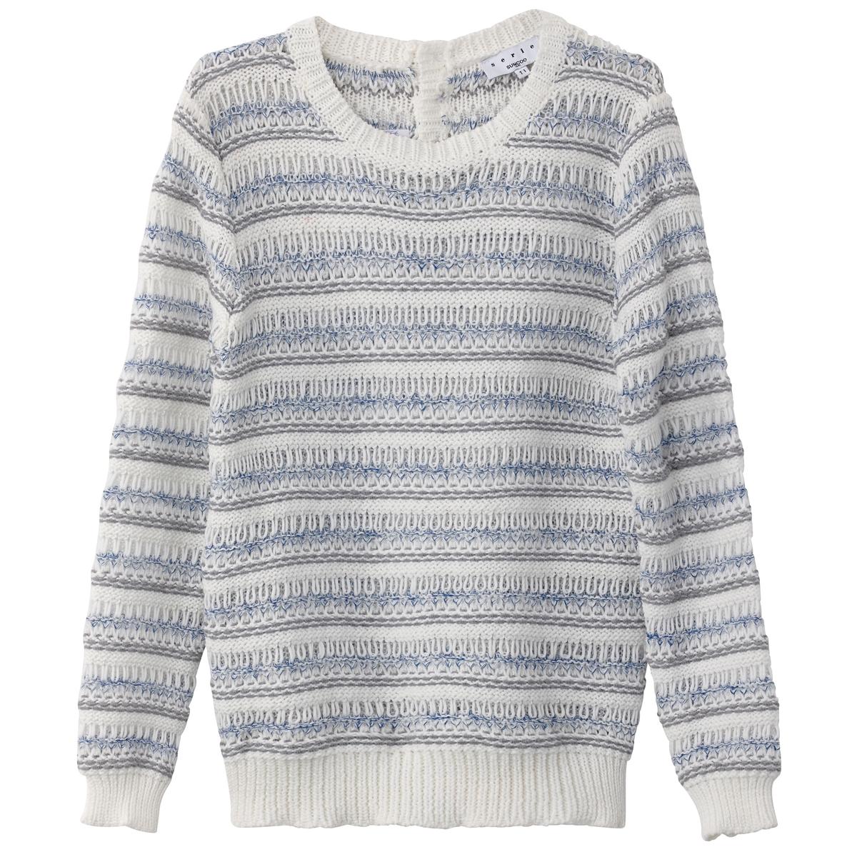 Пуловер хлопковый с круглым вырезом футболка в полоску с круглым вырезом