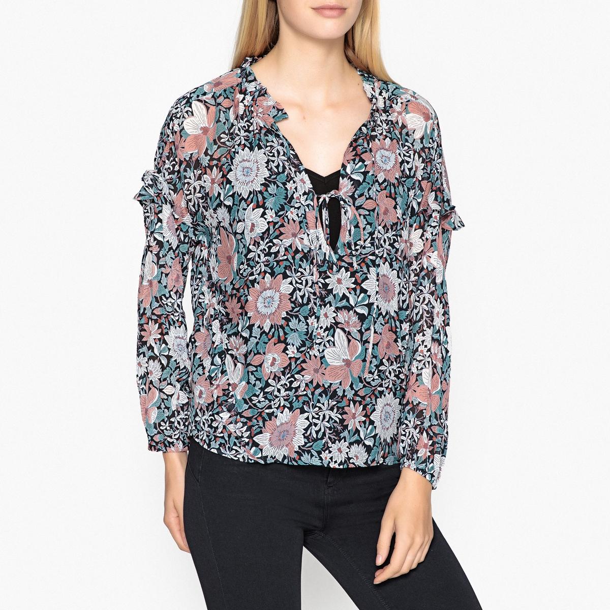 Блузка с рисунком, круглым вырезом и длинными рукавами