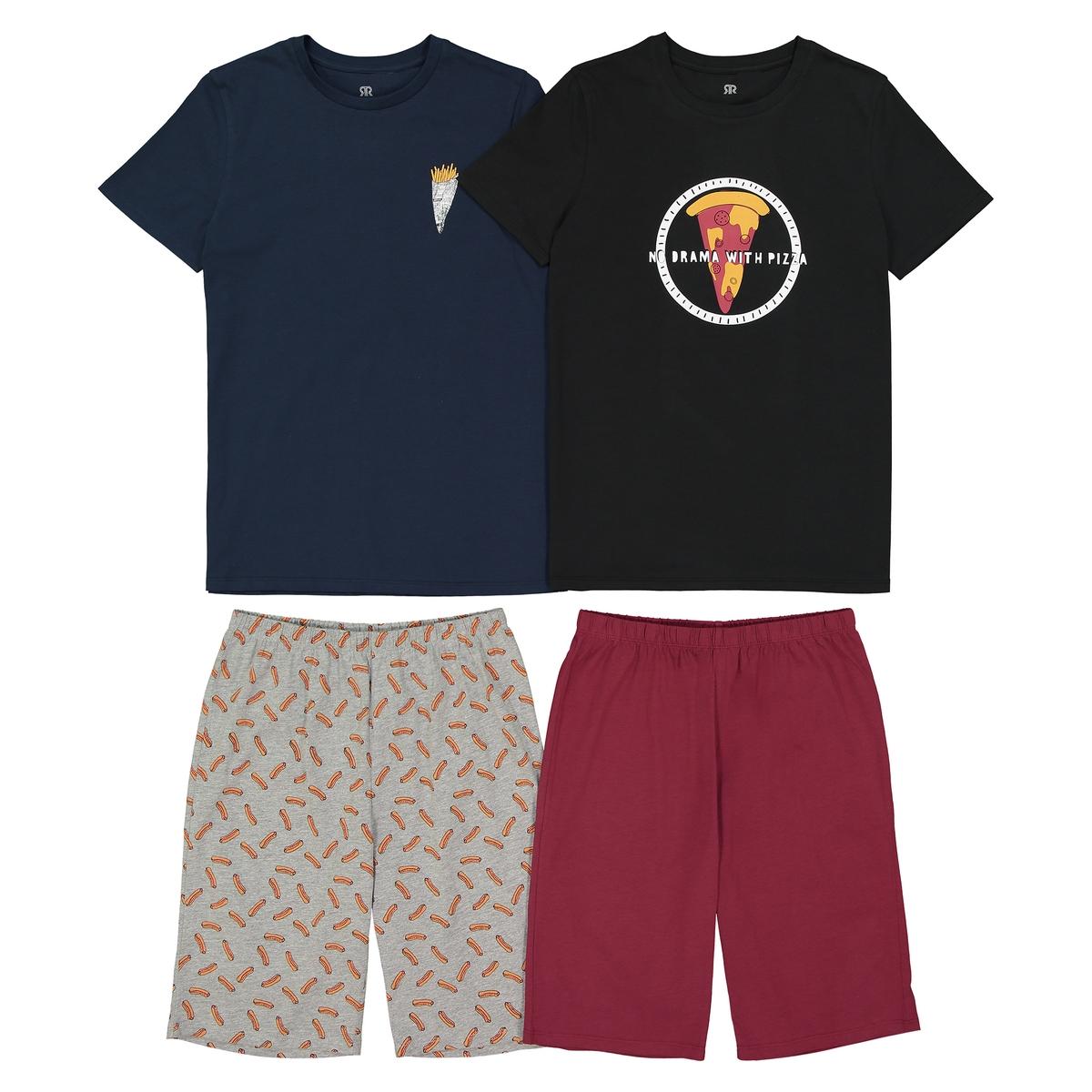 Lote de 2 pijamas de calções estampados, 10 - 16 anos