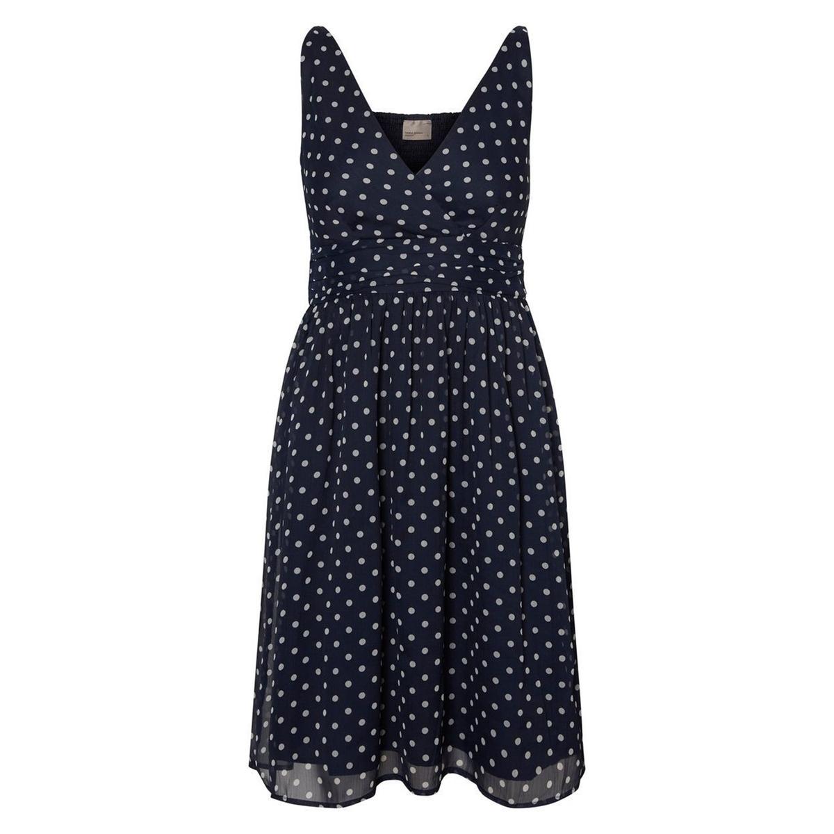 Платье короткое расклешенное с рисунком в горошек