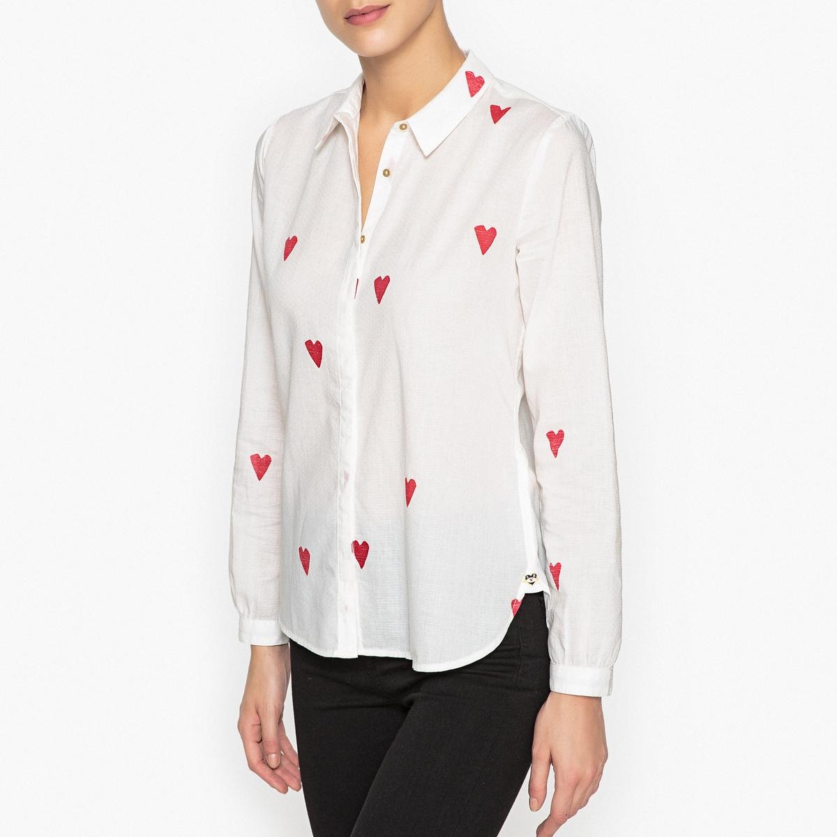Рубашка с рисунком сердца maison scotch футболка с длинными рукавами