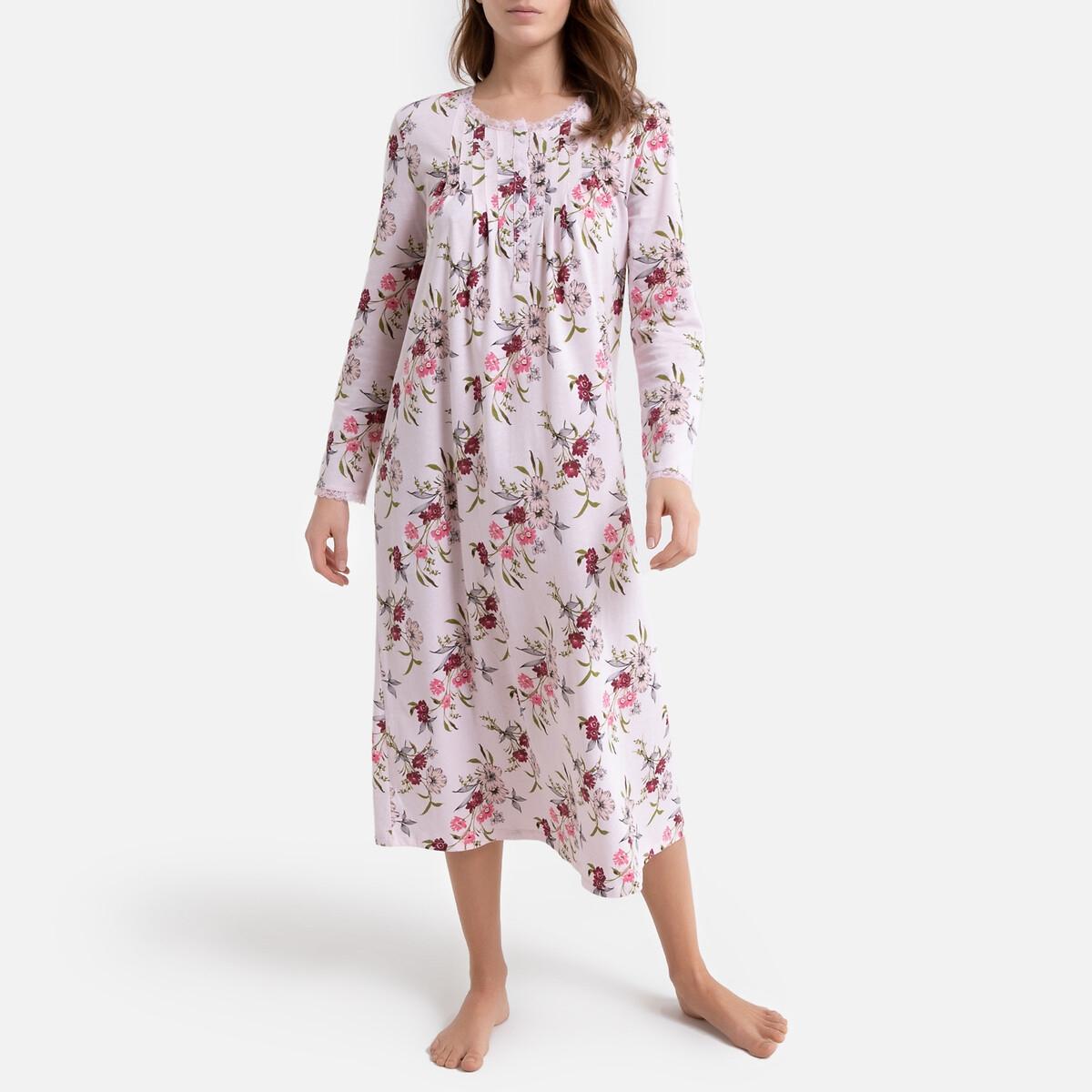 Camisa de dormir em puro algodão, mangas compridas