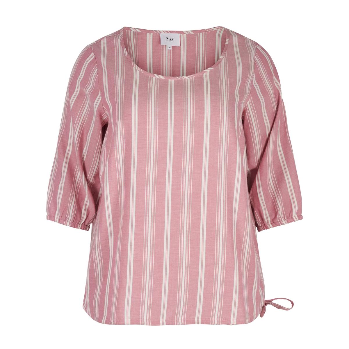 Блузка с рисунком в полоску, круглым вырезом и рукавами 3/4 рубашка с круглым вырезом и рисунком в горошек
