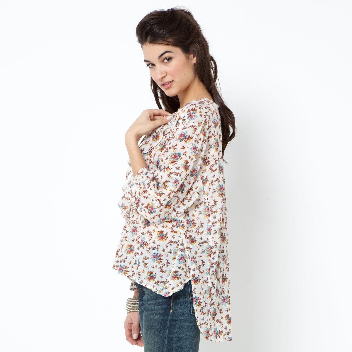 Блузка с рукавами 3/4Блузка с рисунком DENIM &amp; SUPPLY 100% хлопка. Рукава 3/4. Воланы спереди. Длина ок.63 см.<br><br>Цвет: цветочный рисунок<br>Размер: XS.S