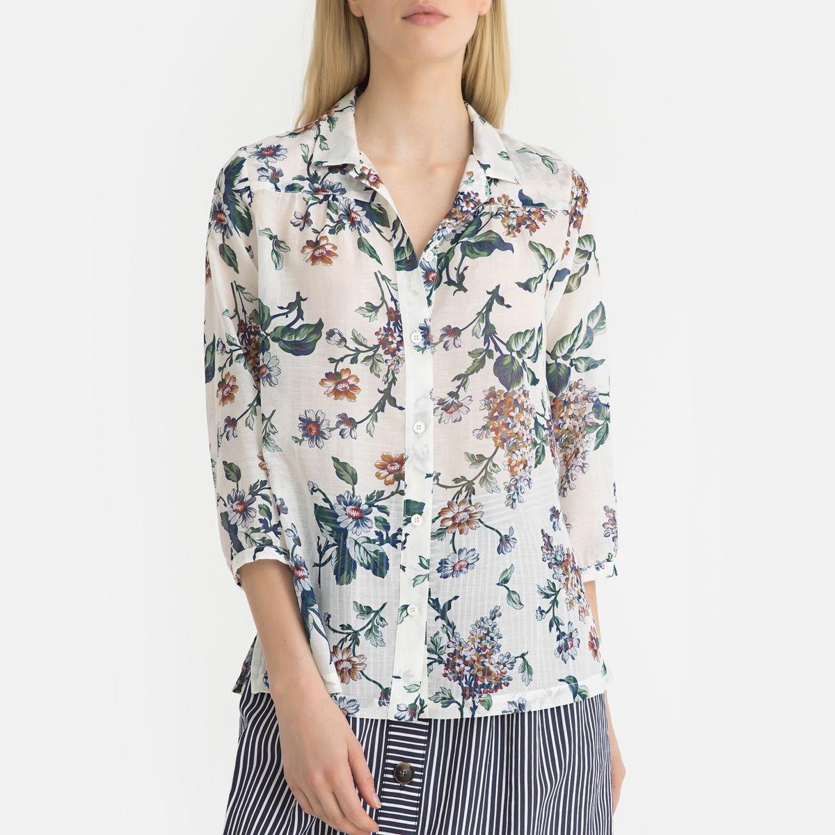 Chemise à fleurs en voile de coton ELEA