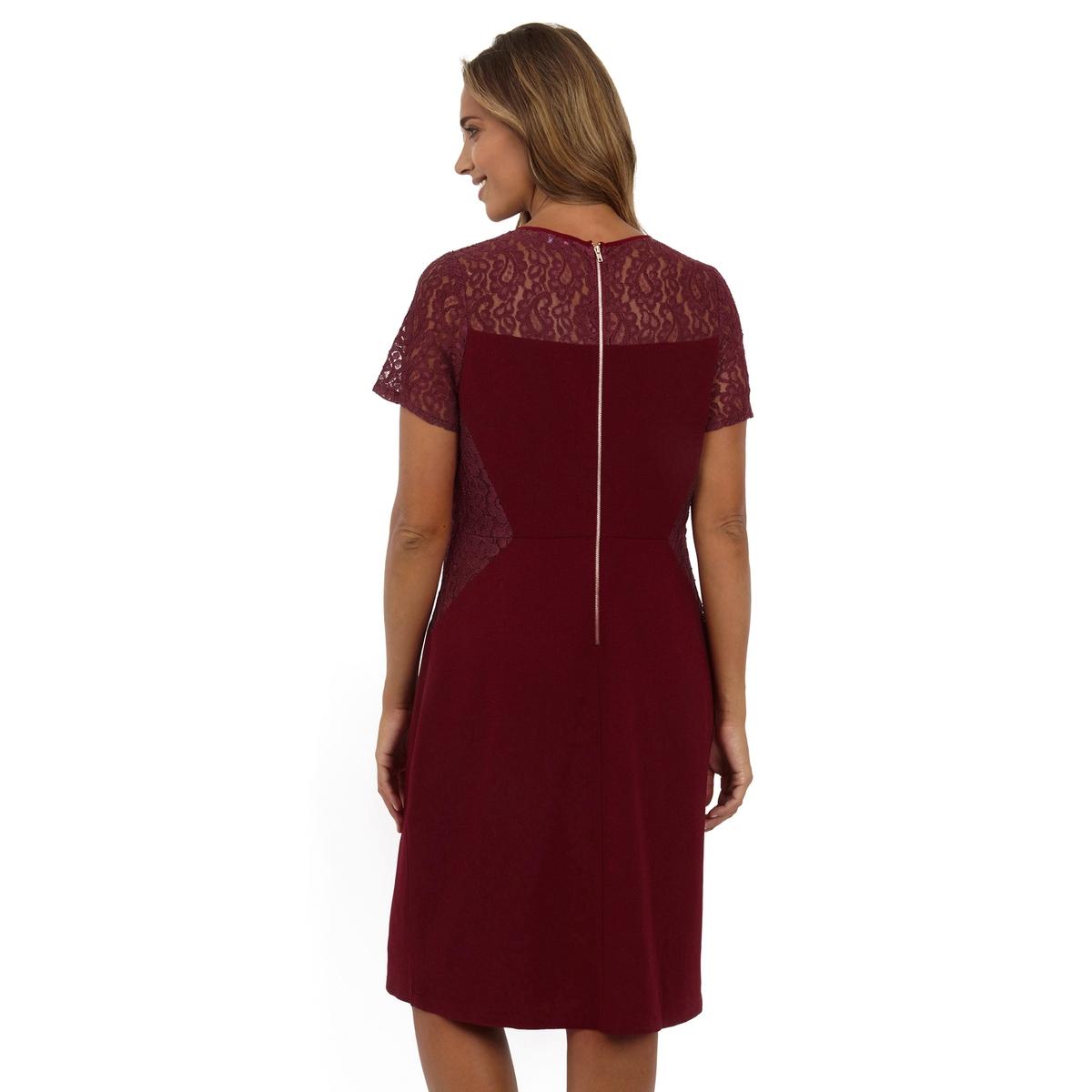 ПлатьеПлатье с короткими рукавами - LOVEDROBE. Симпатичное кружево в верхней части. 100% полиэстер. Длина ок.104 см<br><br>Цвет: бордовый