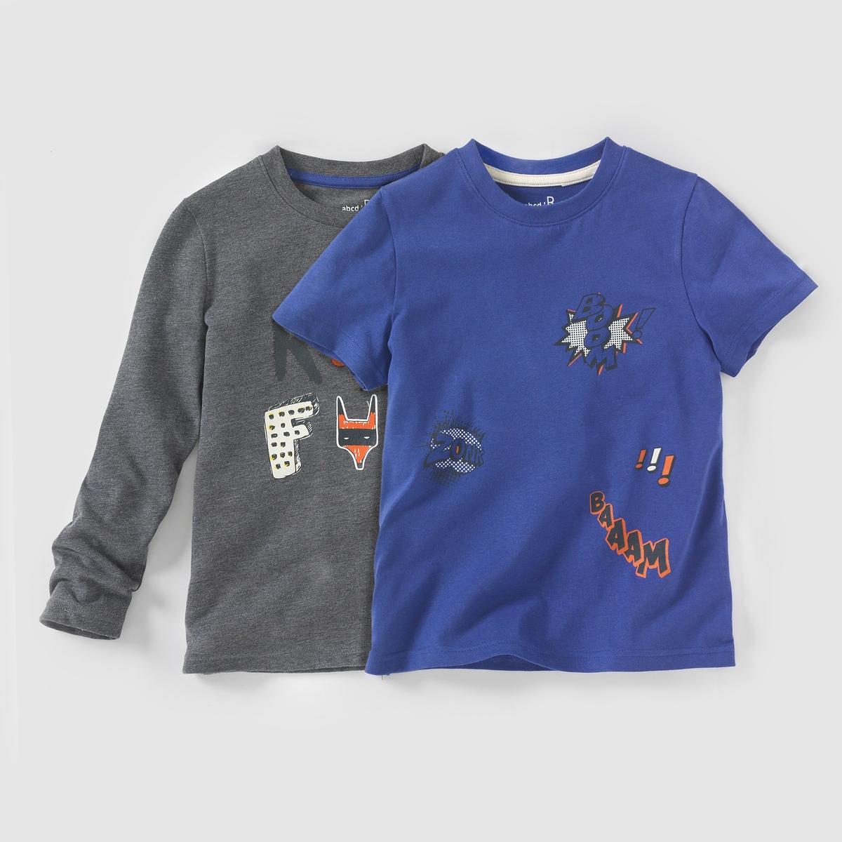 Комплект из 2 футболок с рисунком, для 3-12 лет