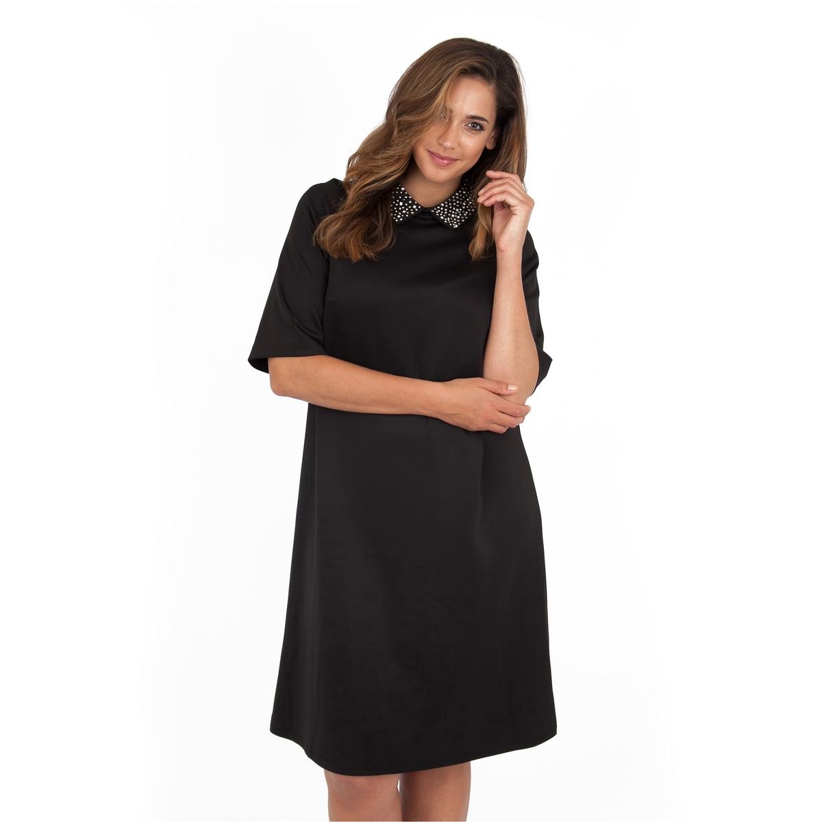 ПлатьеПлатье с рукавами до локтя -  KOKO BY KOKO. Края выреза расшиты бусинами, застежка на крупную молнию сзади. Длина ок.104 см. 100% полиэстера.<br><br>Цвет: черный<br>Размер: 48 (FR) - 54 (RUS)