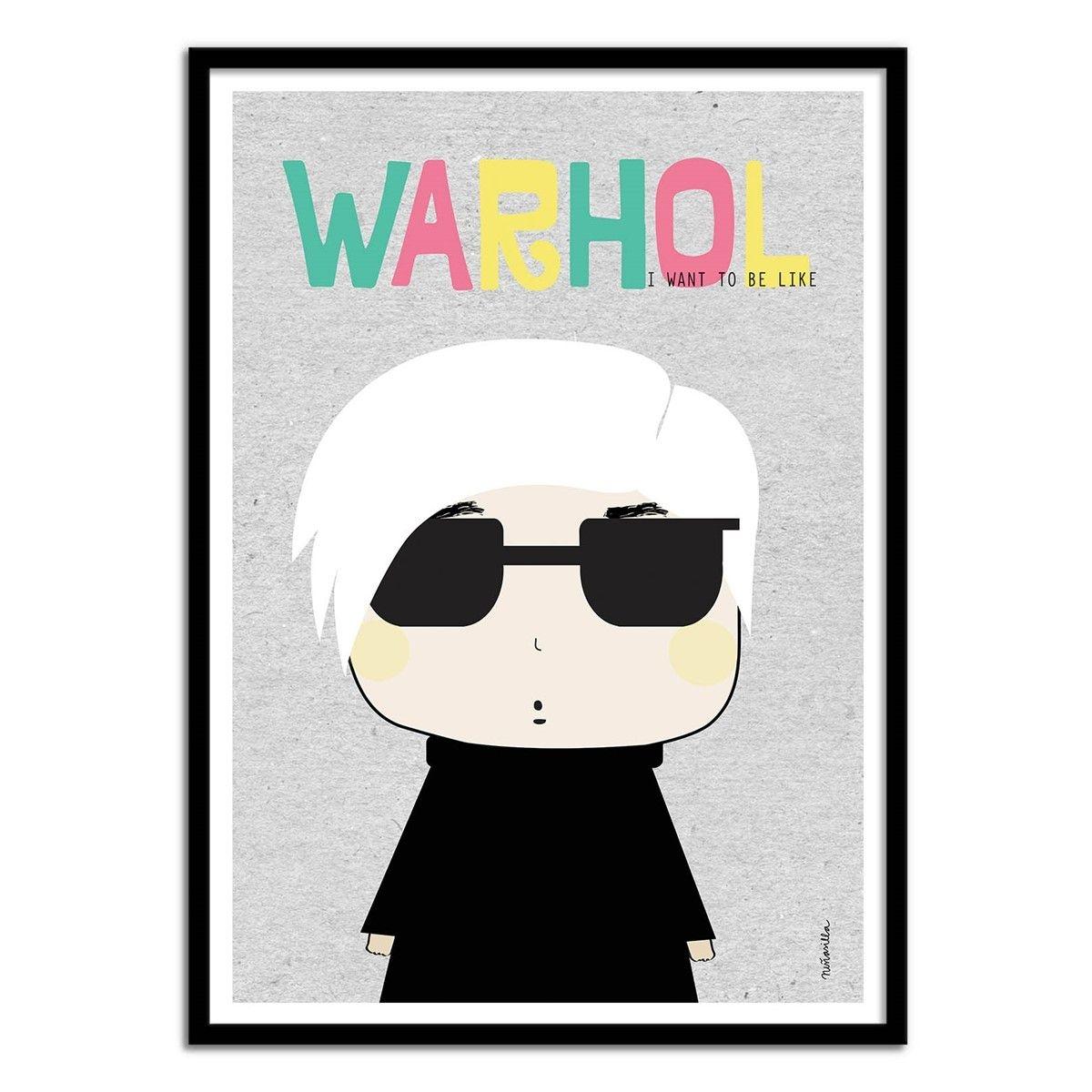 Affiche art 50x70 cm - Illustration Pop portrait - Andy warhol