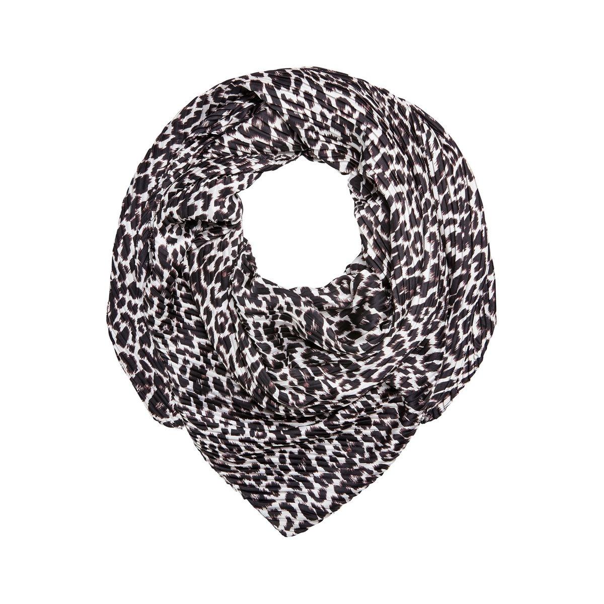 Foulard plissé à imprimé léopard