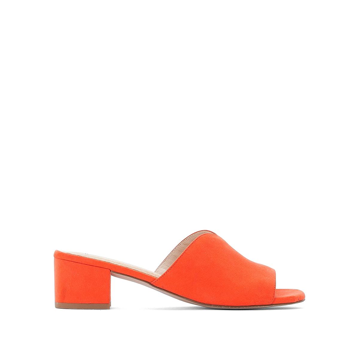 Туфли без задника из ткани на каблуке