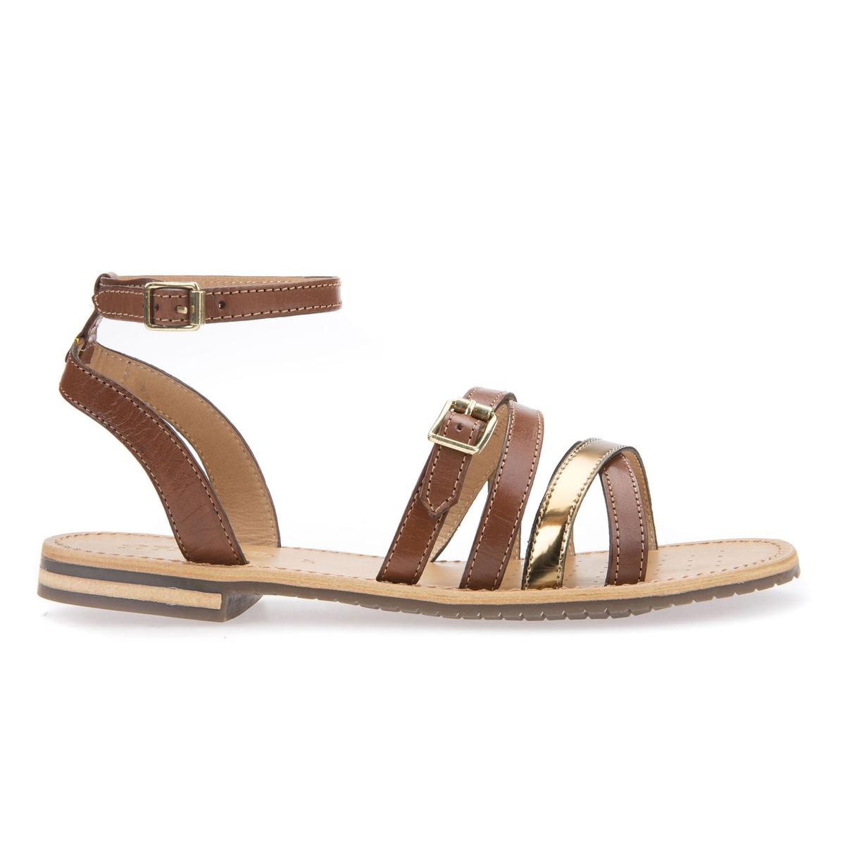 Sandálias rasas em pele, D Sozy B2