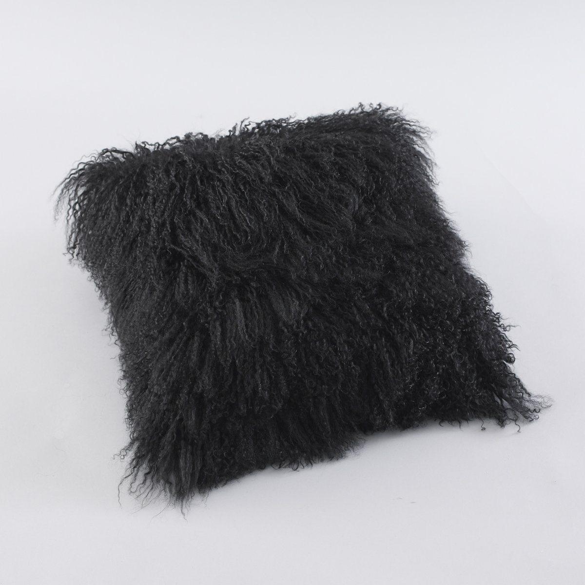 Чехол для подушки REDOUTE CREATIONОдна сторона из 100% шерсти, теплой и мягкой, другая сторона из нежной искусственной замши, 100% полиэстера. Застежка на молнию.-<br><br>Цвет: черный