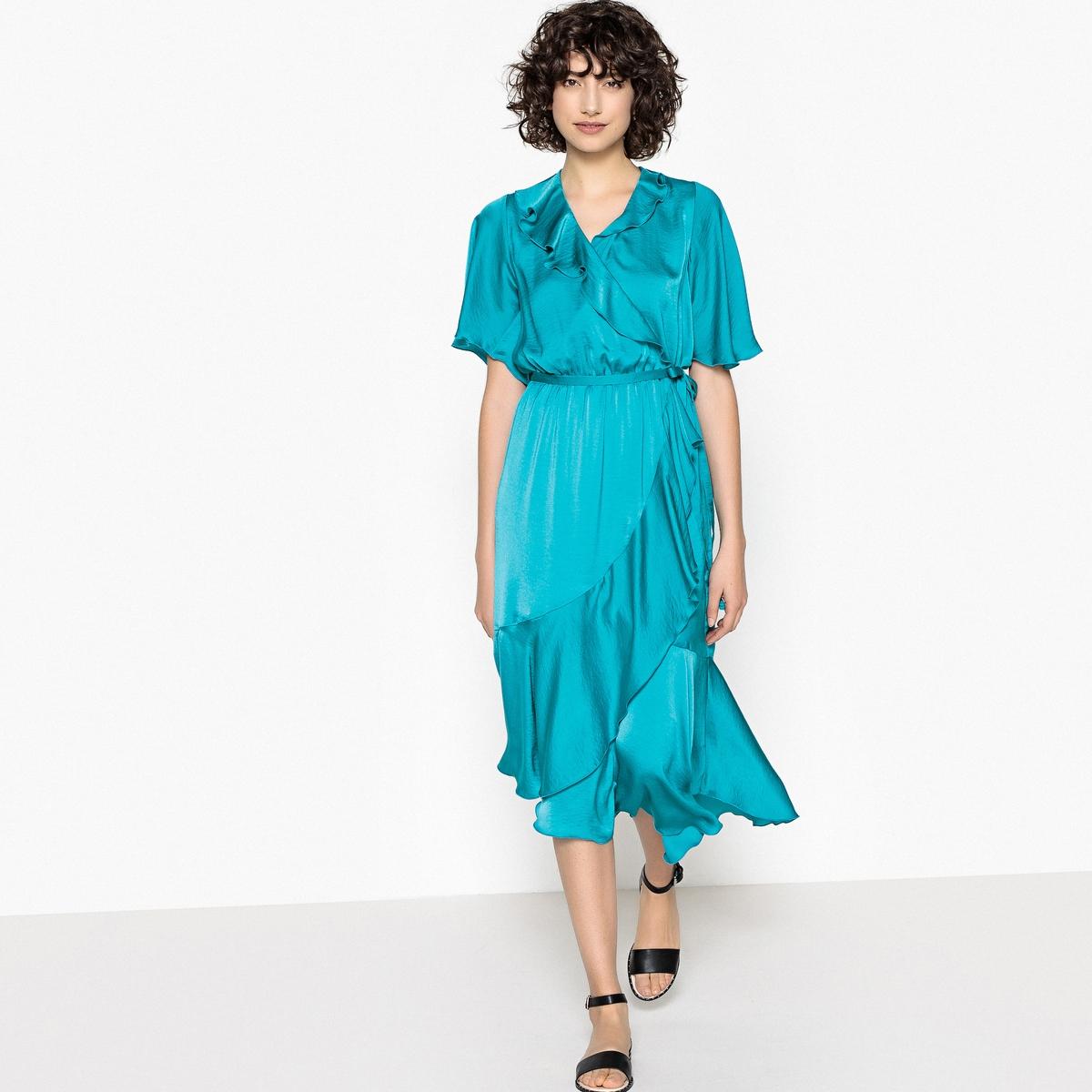 Платье с запахом средней длины с воланами от La Redoute