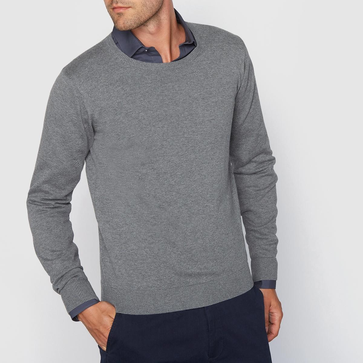 Пуловер с круглым вырезом 100% хлопкаСостав и описание :Материал : 100% хлопкаМарка : R essentiel.<br><br>Цвет: серый меланж,темно-синий меланж,черный<br>Размер: 3XL.XXL.XL.L.XXL.3XL.XXL.L.L.S.S