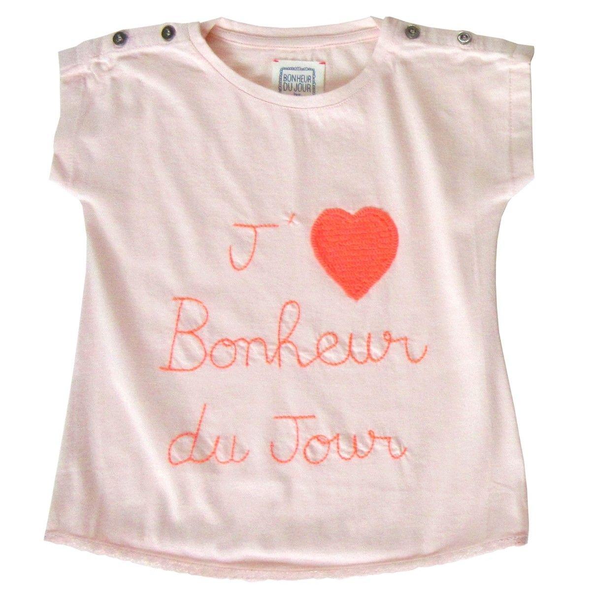 T-shirt brodé manches courtes  I love BDJ Rose