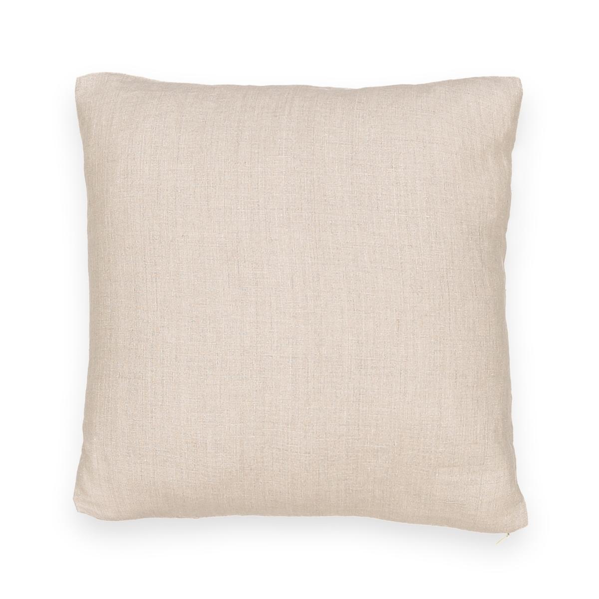 Фото - Чехол LaRedoute Для подушки из стираного льна Onega 40 x 40 см бежевый простыня laredoute натяжная из стираного льна elina для толстых матрасов 160 x 200 см синий
