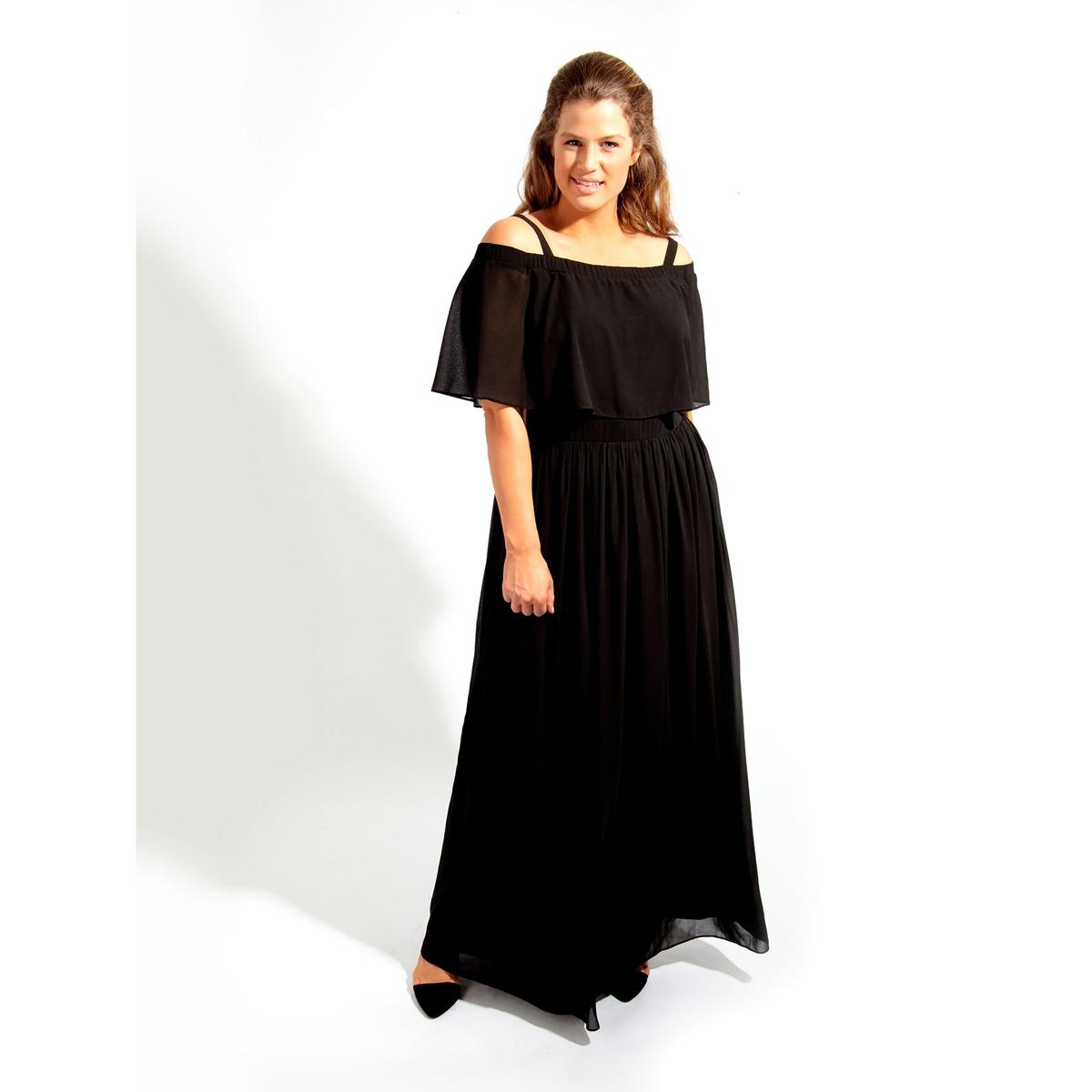 ПлатьеПлатье длинное KOKO BY KOKO. Платье макси с красивым вырезом бардо. 100% полиэстер<br><br>Цвет: черный<br>Размер: 46 (FR) - 52 (RUS)