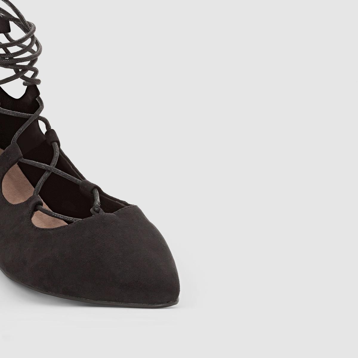 Балетки на шнуровке гилиМарка : CASTALUNAПодходит : для широкой стопы.Верх : искусственная замша.Подкладка : синтетикаСтелька  : кожа.Подошва : из эластомера.Плоский каблук.Преимущества : очень стильная шнуровка гили.<br><br>Цвет: черный<br>Размер: 39