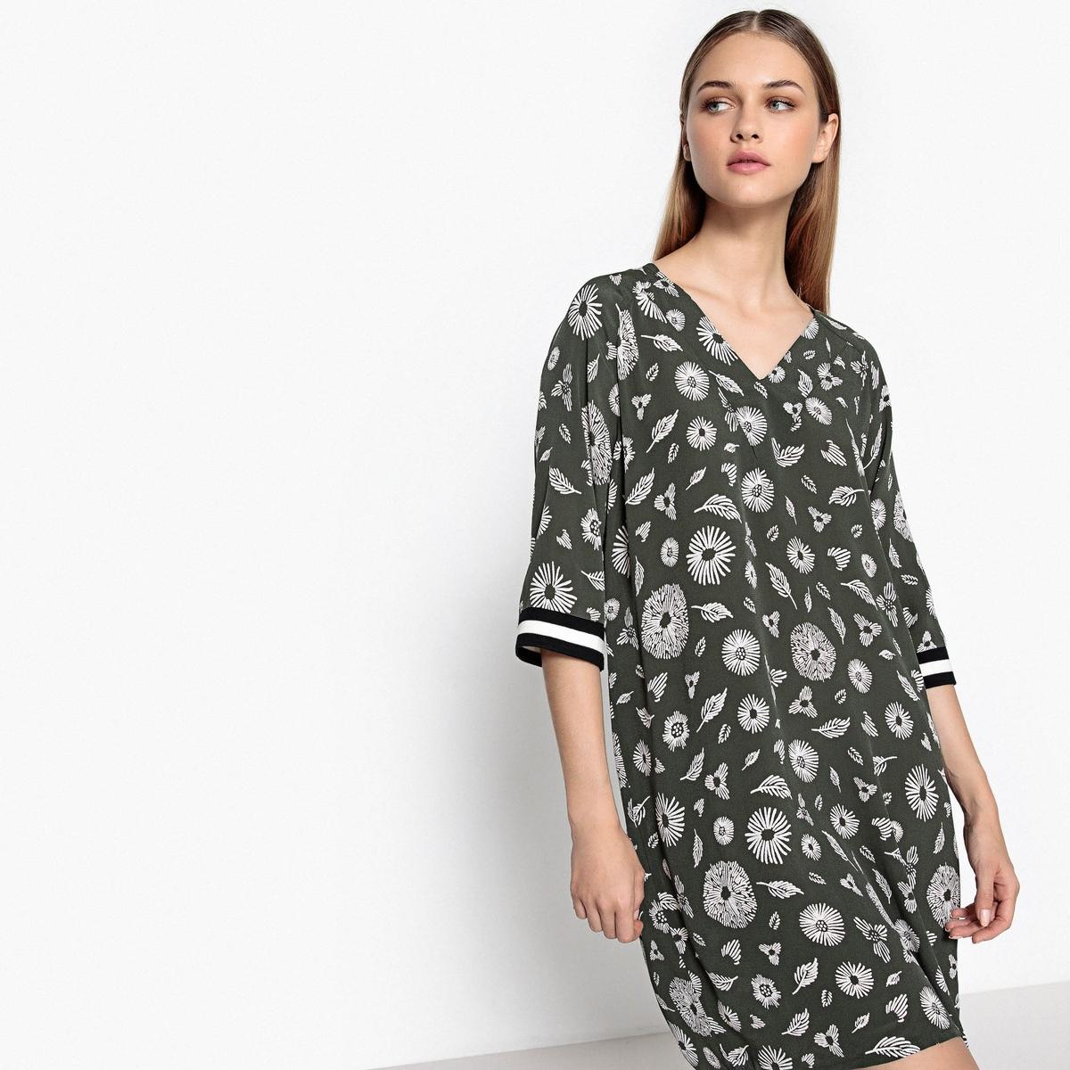 Платье с рисунком в спортивном стилеДетали  •  Форма : прямая •  Длина до колен •  Короткие рукава    •  Круглый вырезСостав и уход  •  100% вискоза •  Следуйте советам по уходу, указанным на этикетке<br><br>Цвет: рисунок/хаки<br>Размер: 38 (FR) - 44 (RUS)