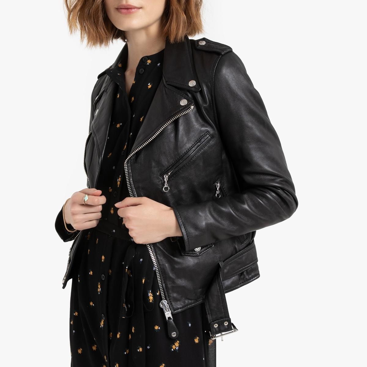 цена Куртка La Redoute В байкерском стиле из кожи ягненка LCW L черный онлайн в 2017 году