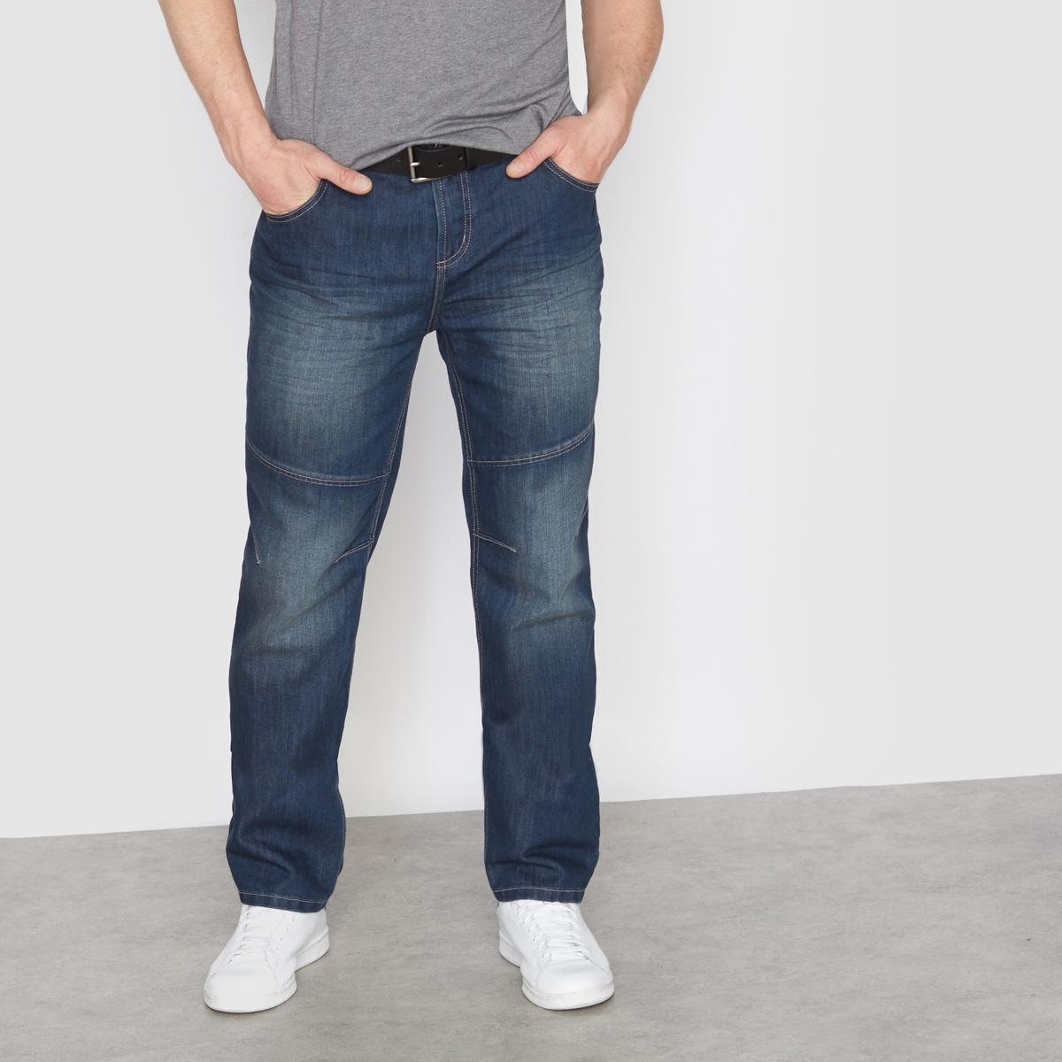 Джинсы эластичные, прямой покрой, 5 кармановДжинсы эластичные, прямой покрой, 5 карманов. Линялый эффект спереди. Эластичный пояс спереди и сзади. Застежка на молнию. Вытачки и строчка на коленях. Перманентные складки на коленях и бёдрах. Деним, 55% хлопка, 45% полиэстера. Длина по внутреннему шву 83 см, ширина по низу 23 см.<br><br>Цвет: темный серо-синий<br>Размер: 66.58.56.64