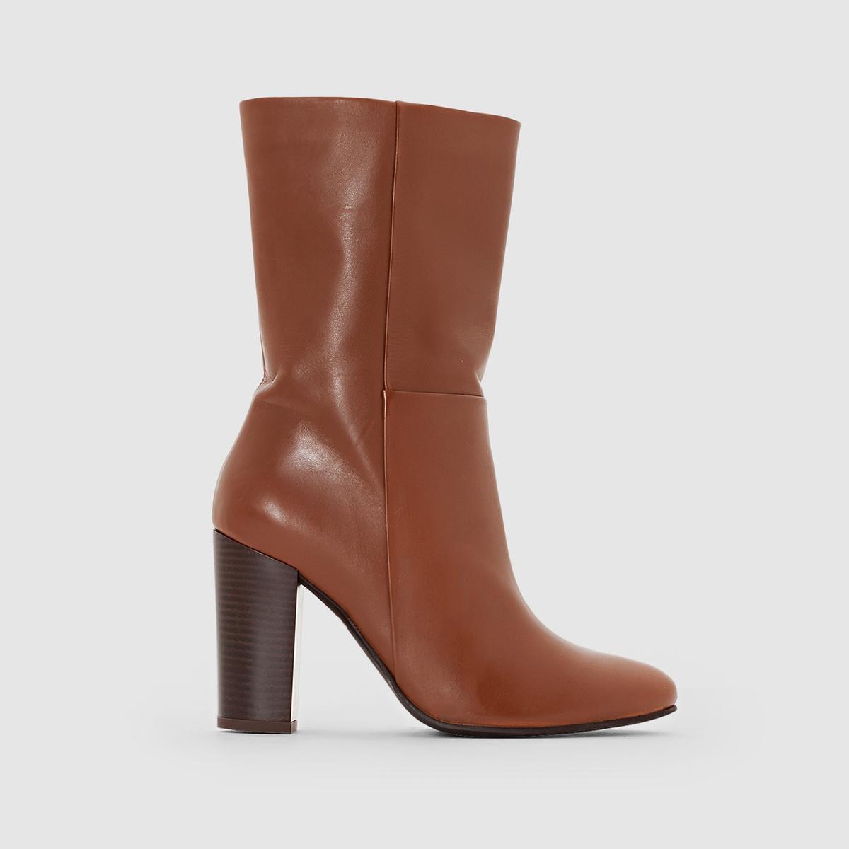Сапоги из кожиПреимущества : сапоги из отличной кожи до середины икры, на высоком каблуке, с застежкой на молнию подойдут к любому наряду  .<br><br>Цвет: каштановый,черный<br>Размер: 36.37.37