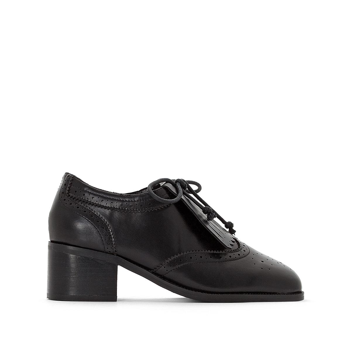 купить Ботинки-дерби с бахромой на среднем каблуке недорого