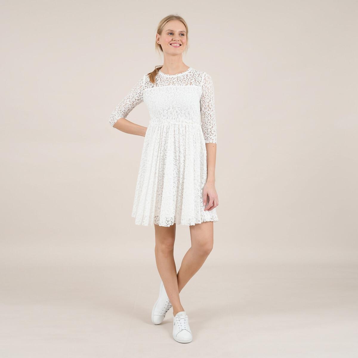 цена Платье La Redoute Короткое расклешенное из кружева с рукавами XS белый онлайн в 2017 году